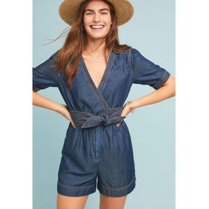 Anthropologie Pilcro Denim romper belted NWT